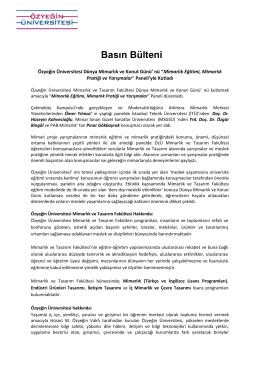 Basın Bülteni - Özyeğin Üniversitesi