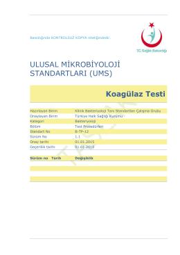 Koagülaz testi - Türkiye Halk Sağlığı Kurumu