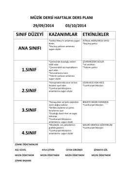 müzik dersi haftalık ders planı 29/09/2014 03/10/2014 sınıf düzeyi