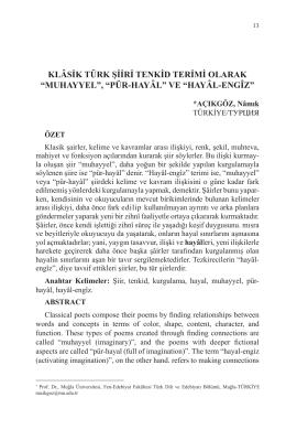 """klâsik türk şiiri tenkid terimi olarak """"muhayyel"""", """"pür-hayâl"""" ve"""
