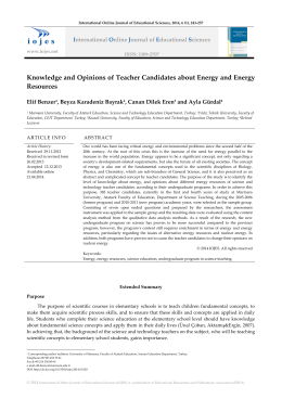 Knowledge and Opinions of Teacher Candidates about Energy and