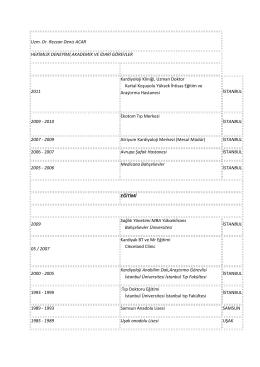 CV Görüntüle - Kartal Koşuyolu Yüksek İhtisas Eğitim ve Araştırma
