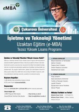 İşletme ve Teknoloji Yönetimi Uzaktan Eğitim (e-MBA)