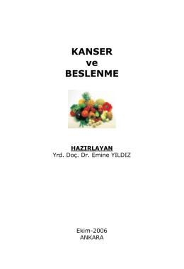 KANSER ve BESLENME - Sağlık Bakanlığı