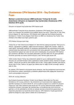Uluslararası CPhI İstanbul 2014 – İlaç Endüstrisi Fuarı