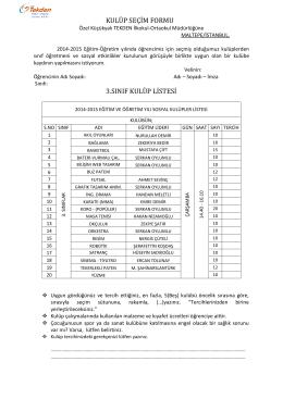 kulüp seçim formu 3.sınıf kulüp listesi