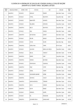 sakarya ili idari yargı seçmen listesi 12 ekim 2014 hâkimler ve