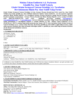 MAKTK Gönüllü Pay Alım Teklifi Talep Formu