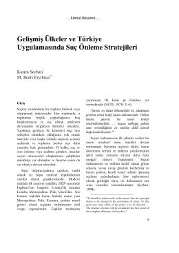 Gelişmiş Ülkeler ve Türkiye Uygulamasında Suç Önleme Stratejileri