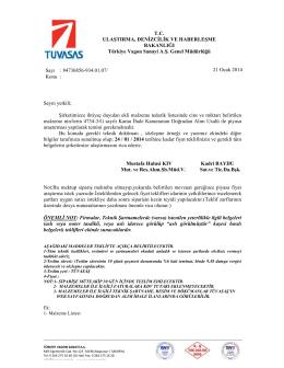TEKLİF İSTEME UZUN EKLİ - Türkiye Vagon Sanayi A.Ş.