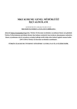 mke kurumu genel müdürlüğü işçi alım ilanı