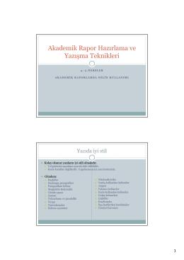 Akademik Rapor Hazırlama ve Yazışma Teknikleri