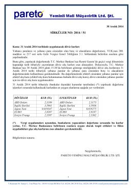 sırk-14-51 31 aralık 2014 tarihinde uygulanacak döviz