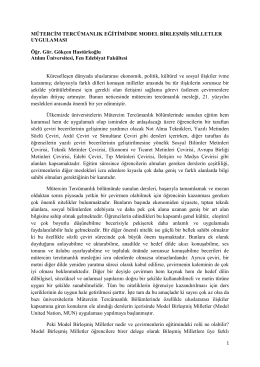 Mütercim Tercümanlık Eğitiminde Model