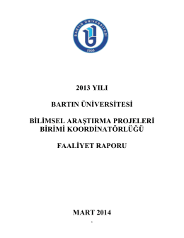 2013 YILI BARTIN ÜNİVERSİTESİ BİLİMSEL - BAP