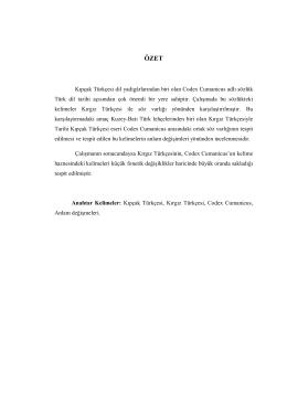 Kıpçak Türkçesi dil yadigârlarından biri olan Codex Cumanicus adlı