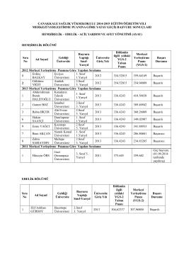 çanakkale sağlık yüksekokulu 2014-2015 eğitim öğretim yılı merkezi