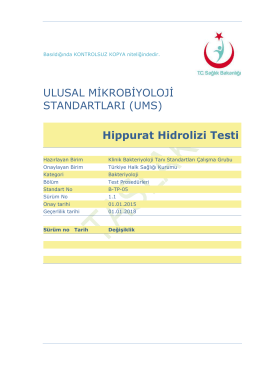 Hippurat hidrolizi - Türkiye Halk Sağlığı Kurumu