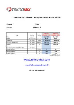 teknomıx standart karışım spesifikasyonları