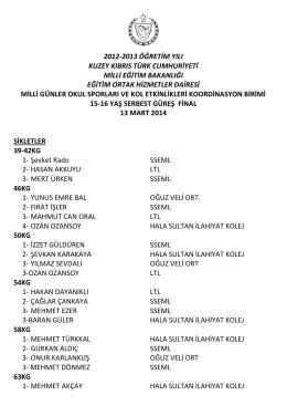 15-16 Yaş Serbest Güreş - Eğitim Ortak Hizmetler Dairesi Müdürlüğü