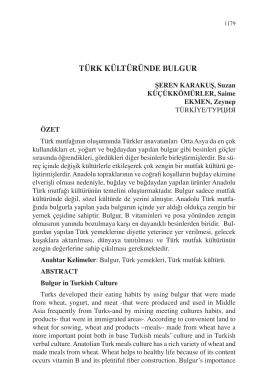 EKMEN, Zeynep-TÜRK KÜLTÜRÜNDE BULGUR