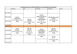2014-15 Güz Dönemi 1. Sınıf haftalık ders programı