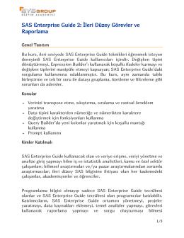 SAS Enterprise Guide 2: İleri Düzey Görevler ve