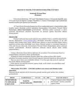 Erzurum Teknik Üniversitesi Üniversitesi Öğretim Üyesi Alım İlanı