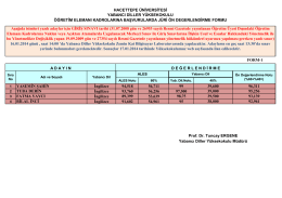 30.12.2013 okutman alımı ön değerlendirme sonuçları