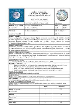 Endüstriyel gürültü kontrolü - Erciyes Üniversitesi | Makina