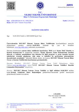 2015-2017 Yatırım Tavan Rak. - Strateji Geliştirme Daire Başkanlığı