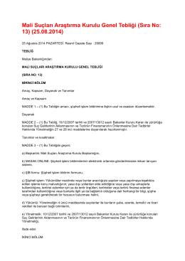 Mali Suçları Araştırma Kurulu Genel Tebliği (Sıra No: 13) (25.08.2014)