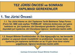 Tez Jürisi Öncesi ve Sonrası - Sosyal Bilimler Enstitüsü