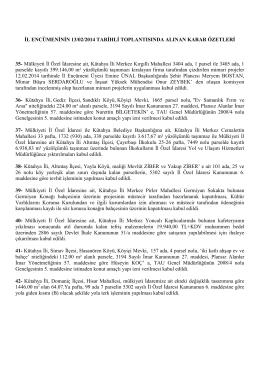 13.03.2014 tarihli il encümeni karar özetleri