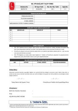 VPN Bağlantı Talep Formu - Hacettepe Üniversitesi Bilgi İşlem Daire