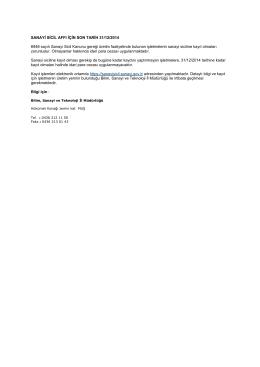 SANAYİ SİCİL AFFI İÇİN SON TARİH 31/12/2014 6948 sayılı Sanayi