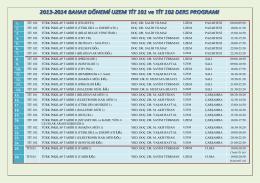 2013-2014 bahar uzem tit 101 ve tit 102 ders programları