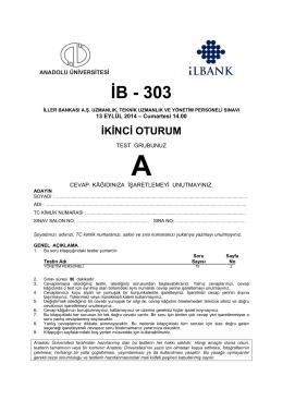 İB - 303 - Anadolu Üniversitesi Sınav Hizmetleri