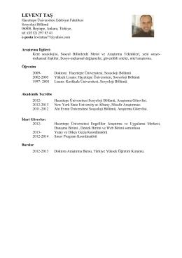 Araş. Gör. Levent Taş - Hacettepe Üniversitesi Sosyoloji Bölümü