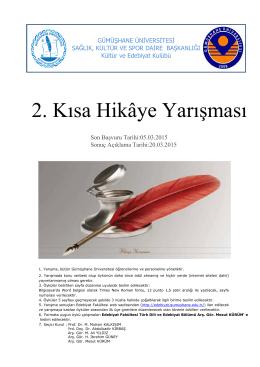 ıı. kısa hikâye yarışması - Gümüşhane Üniversitesi Edebiyat Fakültesi