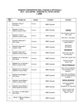 2014-2014 Eğitim Öğretim Yılı 7. Sınıflar Kitap ve Malzeme İhtiyaç