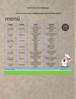 15-21 Kasım Haftası Yemek Listesi