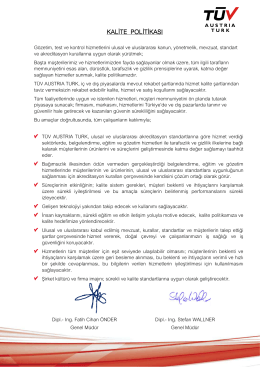 TÜV AUSTRIA TURK Kalite Politikası