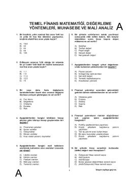 Sorular : Temel Finans Matematiği, Değerleme Yöntemleri