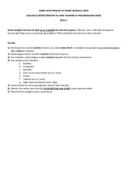 Web Ödev 1 - Webpanosu.NET