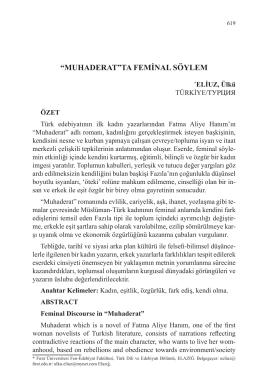 """ELİUZ, Ülkü-""""MUHADERAT""""TA FEMİNAL SÖYLEM"""