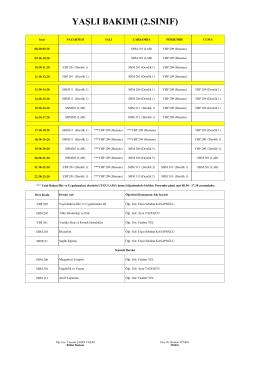 Yaşlı Bakımı Programı 2. Sınıf Normal Öğretim ve İkinci Öğretim Ders