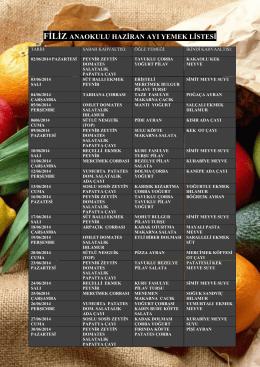 Haziran Ayı Yemek Listesi