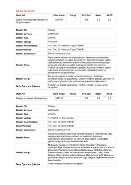Hastane İşletmeciliği Ders İçerikleri [PDF]