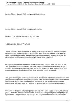 Kuruluş Dönemi Osmanlı Kültür ve Uygarlığı Flash